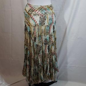 NWT Hazel Boho Flowy Multicolor Maxi Skirt Small